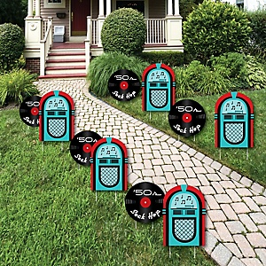 50's Sock Hop - 1950s Rock N Roll Lawn Decorations - Outdoor Yard Art Decorations - 10 Piece