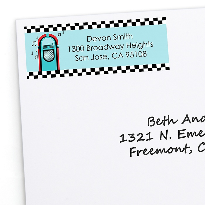 50's Sock Hop - Personalized 1950s Rock N Roll Party Return Address Labels - 30 ct