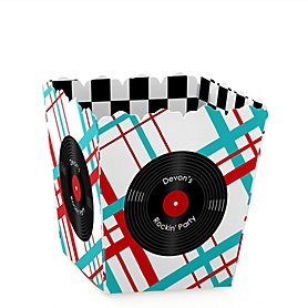 50's Sock Hop - Party Mini Favor Boxes - Personalized 1950s Rock N Roll Party Treat Candy Boxes - Set of 12