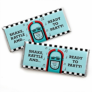 50's Sock Hop - Personalized Candy Bar Wrapper 1950s Rock N Roll Party Favors - Set of 24