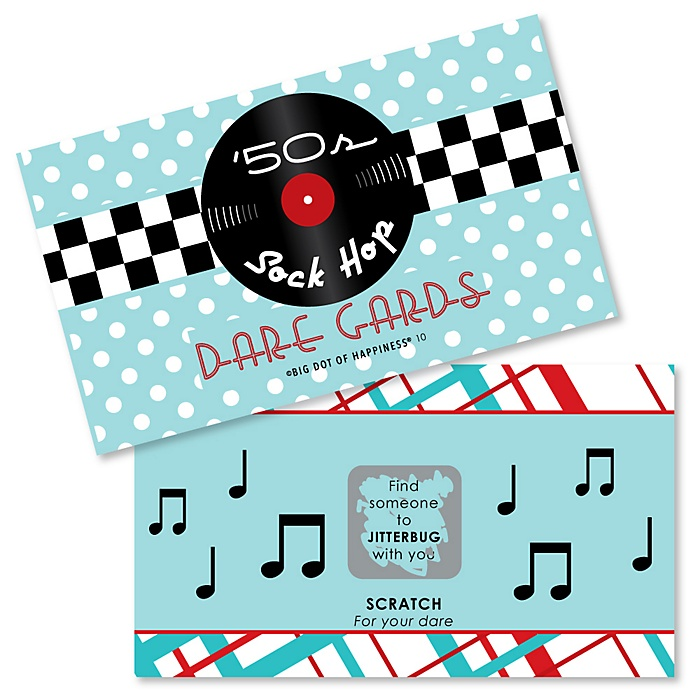 50's Sock Hop - 1950s Rock N Roll Party Scratch Off Dare Cards - 22 Cards