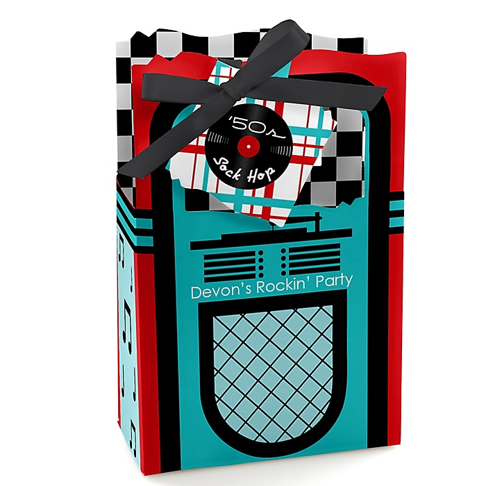 50's Sock Hop - Personalized 1950s Rock N Roll Party Favor Boxes - Set of 12