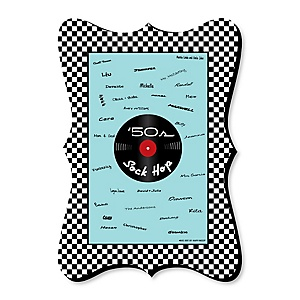 50's Sock Hop - Unique Alternative Guest Book - 1950s Rock N Roll Party Signature Mat