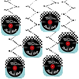 50's Sock Hop - 1950s Rock N Roll Party Hanging Decorations - 6 Count