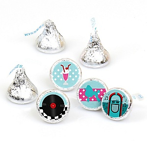 50's Sock Hop - Round Candy Labels 1950s Rock N Roll Party Favors - Fits Hershey's Kisses - 108 ct