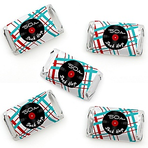 50's Sock Hop - Mini Candy Bar Wrapper Stickers - 1950s Rock N Roll Party Small Favors - 40 Count