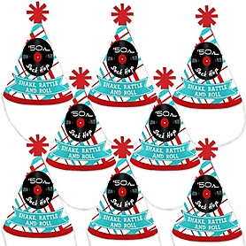 50's Sock Hop - Mini Cone 1950s Rock N Roll Party Hats - Small Little Party Hats - Set of 8