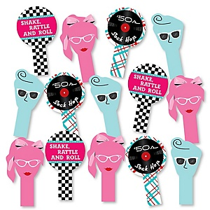 50's Sock Hop - 1950s Rock N Roll Party Paddle Photo Booth Props – Selfie Photo Booth Props – Set of 14
