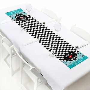 "50's Sock Hop - Personalized Petite 1950s Rock N Roll Party Table Runner - 12"" x 60"""