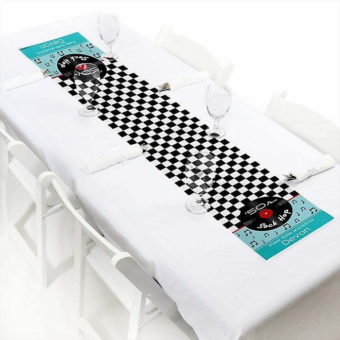 """50's Sock Hop - Personalized Petite 1950s Rock N Roll Party Table Runner - 12"""" x 60"""""""