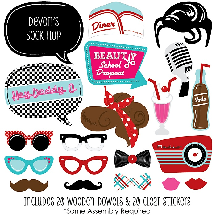 50's Sock Hop - 20 Piece 50's Party Photo Booth Props Kit
