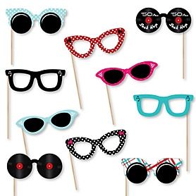 50's Sock Hop Glasses - Paper Card Stock 1950s Rock N Roll Party Photo Booth Props Kit - 10 Count