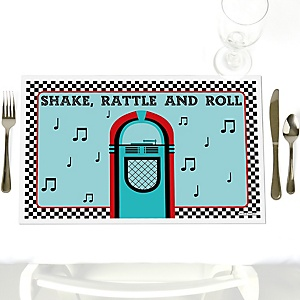 50's Sock Hop - Party Table Decorations - 1950s Rock N Roll Party Placemats - Set of 12