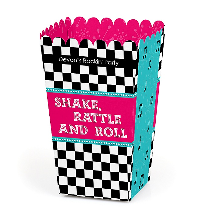 50's Sock Hop - Personalized 1950s Rock N Roll Party Popcorn Favor Treat Boxes - Set of 12