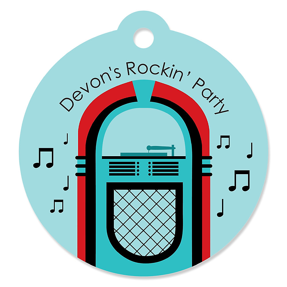 50 S Sock Hop Personalized 1950s Rock N Roll Party Gift Tags 20 Ct