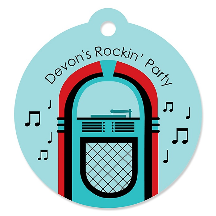 50's Sock Hop - Personalized 1950s Rock N Roll Party Gift Tags - 20 ct