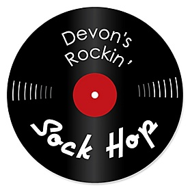 50's Sock Hop - Round Personalized 1950s Rock N Roll Party Sticker Labels - 24 ct