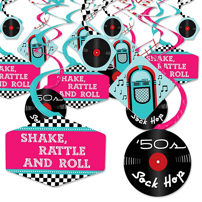 50's Sock Hop - 1950s Rock N Roll Party Hanging Decor - Party Decoration Swirls - Set of 40