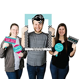 50's Sock Hop - Personalized Fifties Selfie Photo Booth Picture Frame & Props - Printed on Sturdy Material