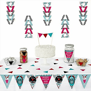 50's Sock Hop -  Triangle 1950s Rock N Roll Party Decoration Kit - 72 Piece