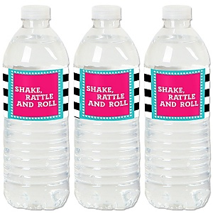 50's Sock Hop - 1950s Rock N Roll Party Water Bottle Sticker Labels - Set of 20