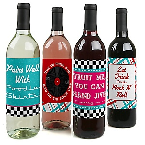 50's Sock Hop - 1950s Rock N Roll Party Decorations for Women and Men - Wine Bottle Label Stickers - Set of 4