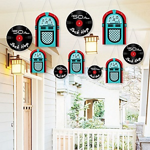 Hanging 50's Sock Hop - Outdoor 1950s Rock N Roll Party Hanging Porch and Tree Yard Decorations - 10 Pieces