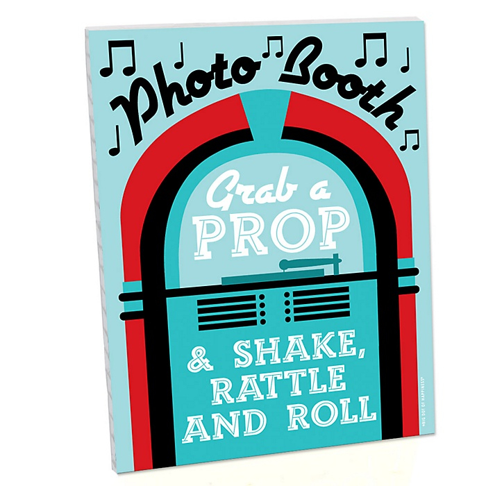 50's Sock Hop Photo Booth Sign - 1950s Rock N Roll Party Decorations - Printed on Sturdy Plastic Material - 10.5 x 13.75 inches - Sign with Stand - 1 Piece