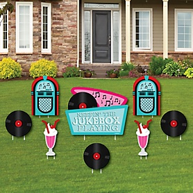 50's Sock Hop - Yard Sign & Outdoor Lawn Decorations - 1950s Rock N Roll Party Yard Signs - Set of 8