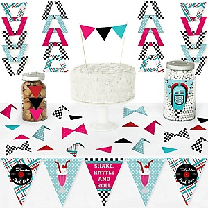 50's Sock Hop - DIY Pennant Banner Decorations - 1950s Rock N Roll Party Triangle Kit - 99 Pieces
