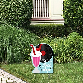 50's Sock Hop - Outdoor Lawn Sign - 1950s Rock N Roll Party Yard Sign - 1 Piece