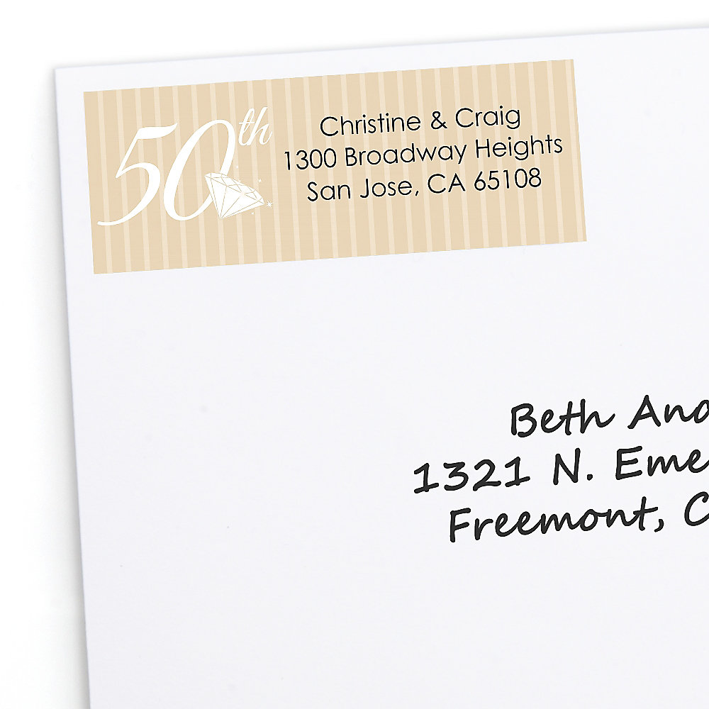 50th anniversary personalized wedding anniversary return address