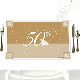 50th Anniversary - Party Table Decorations - Wedding Anniversary Placemats - Set of 12