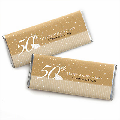 50th Anniversary Personalized Candy Bar Wrappers Wedding