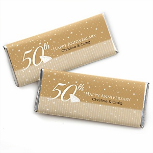 50th Anniversary - Personalized Candy Bar Wrappers Wedding Anniversary Party Favors - Set of 24