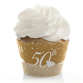 50th Anniversary - Wedding Anniversary Decorations - Party Cupcake Wrappers - Set of 12