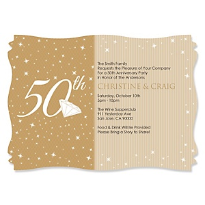 50th Anniversary - Personalized Wedding Anniversary Invitations - Set of 12