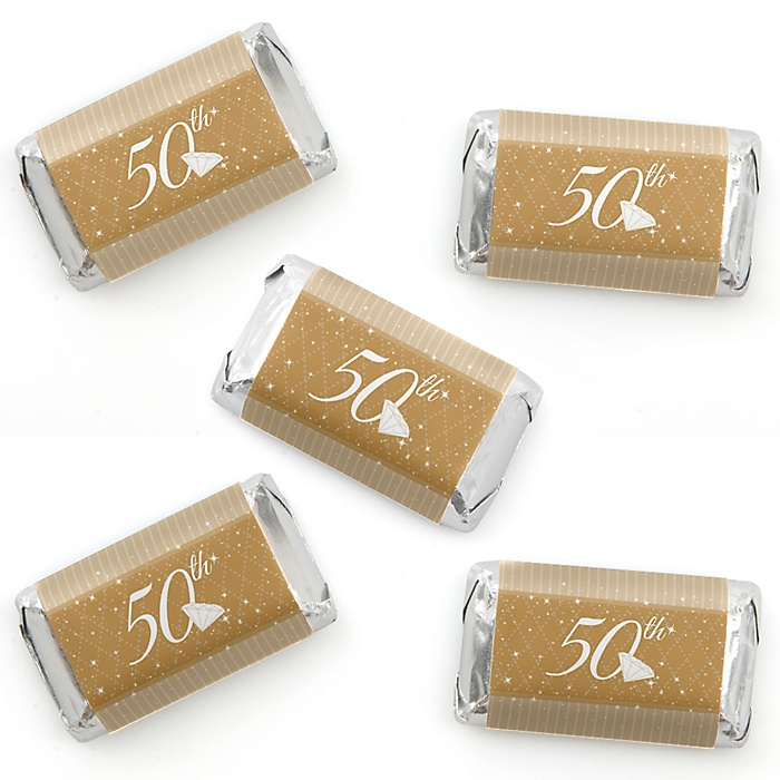 50th Anniversary - Mini Candy Bar Wrapper Stickers - Wedding Anniversary Party Small Favors - 40 Count