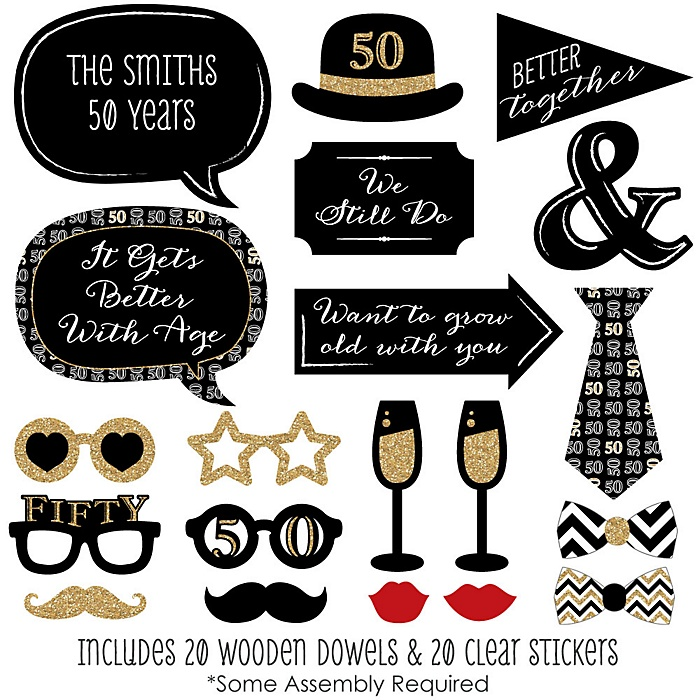 50th Anniversary - 20 Piece Photo Booth Props Kit