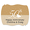 50th Anniversary - Personalized Wedding Anniversary Squiggle Sticker Labels - 16 ct
