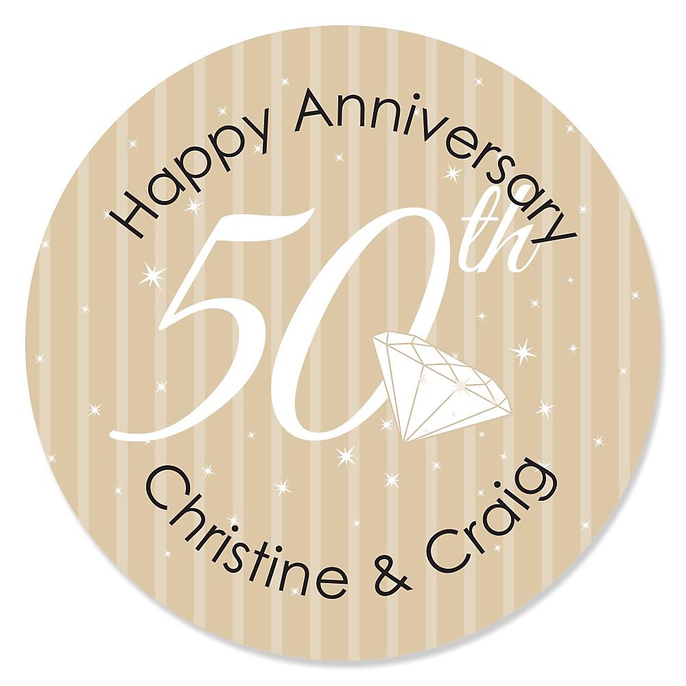 50th Anniversary Personalized Wedding Anniversary Sticker Labels 24 Ct
