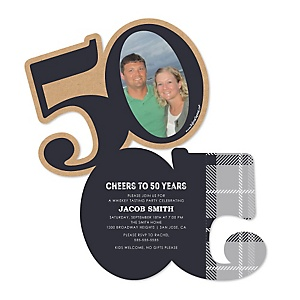 50th Milestone Birthday - Dashingly Aged to Perfection - Personalized Shaped Photo Birthday Party Invitations - Set of 12