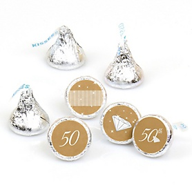 50th Anniversary - Round Candy Labels Wedding Anniversary Favors - Fits Hershey's Kisses - 108 ct
