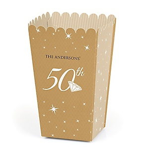 50th Anniversary - Personalized Anniversary Popcorn Favor Treat Boxes - Set of 12