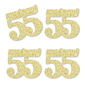 Gold Glitter 55 - No-Mess Real Gold Glitter Cut-Out Numbers - 55th Birthday Party Confetti - Set of 24