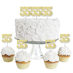 Gold Glitter 55 - No-Mess Real Gold Glitter Dessert Cupcake Toppers - 55th Birthday Party Clear Treat Picks - Set of 24