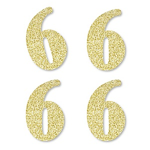 Gold Glitter 6 - No-Mess Real Gold Glitter Cut-Out Numbers - 6th Birthday Party Confetti - Set of 24