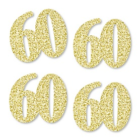 Gold Glitter 60 - No-Mess Real Gold Glitter Cut-Out Numbers - 60th Birthday Party Confetti - Set of 24