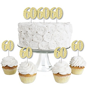 Gold Glitter 60 - No-Mess Real Gold Glitter Dessert Cupcake Toppers - 60th Birthday Party Clear Treat Picks - Set of 24