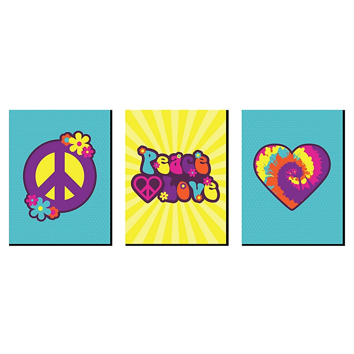 60's Hippie - 1960s Wall Art, Room Decor and Groovy Themed Room Home Decorations - 7.5 x 10 inches - Set of 3 Prints